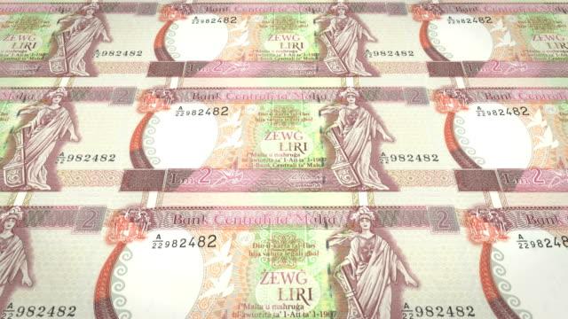 Banknotes of two maltese liras or liri of Malta, cash money, loop video