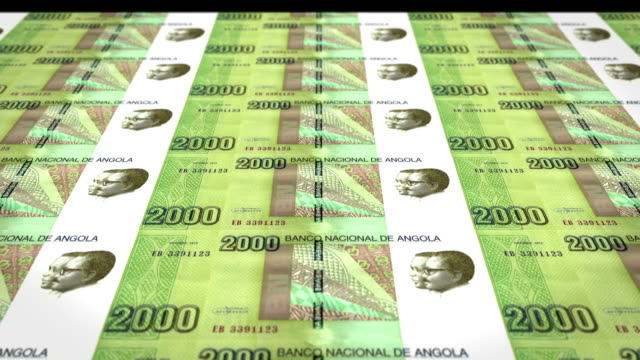 Banknotes of two thousand angolan kwanza of the central bank of the Republic of Angola rolling on screen, coins of the world, cash money, loop video