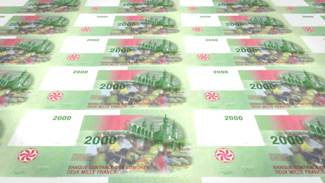 Banknotes of two thousand comorian francs of Comoros, cash money, loop video