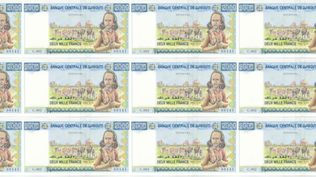 Banknotes of two thousand francs of Djibouti  rolling, cash money, loop video