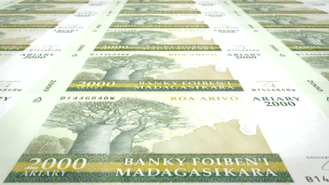 banknotes of two thousand malagasy ariary of madagascar, cash money, loop - palazzo del ministero del tesoro video stock e b–roll