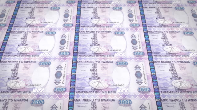 Banknotes of two thousand Rwandan francs of Rwanda, cash money, loop video