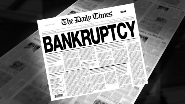 bankruptcy - newspaper headline (intro + loops) - bankruptcy stock videos & royalty-free footage