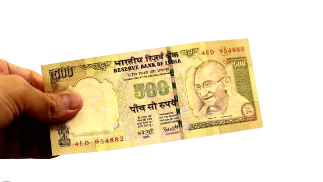 Banned Old 500 Rupees Note Stock Video - Download Video Clip