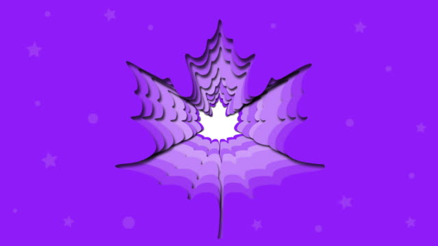 Banner design on purple background, maple paper cut and crafts, animation