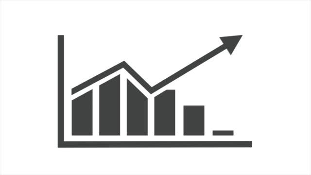 vídeos de stock e filmes b-roll de bar chart diagram, isolated on white background, with alpha channel. - antecipação