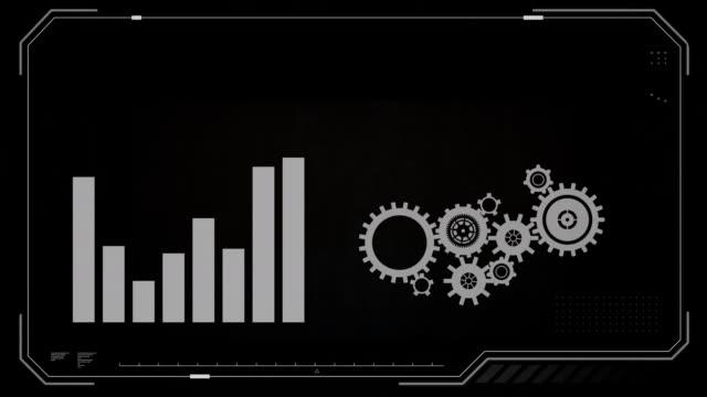 Bar graph and cog wheels