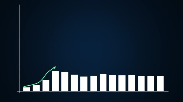 bar graph and linear ascending graphs in blue - banchi scuola video stock e b–roll