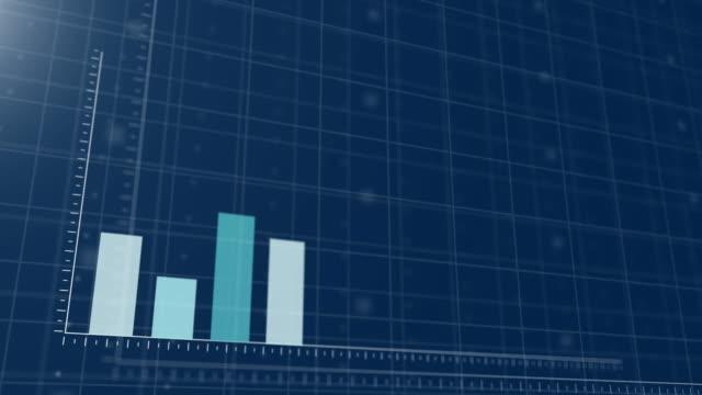bar graph business wächst erfolgreich auf blauem hintergrund - grafik stock-videos und b-roll-filmmaterial