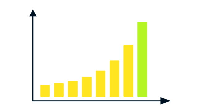 Bar graph chart with arrows axis. Grow chart business concept. Chart animation for yours presentation.