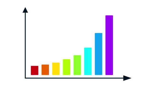 vídeos de stock e filmes b-roll de bar graph chart with arrows axis. - upgrade