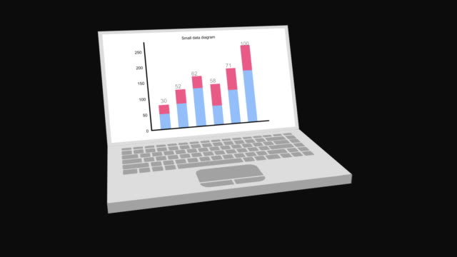 Bar graph chart with axis illustrated small data business concept on laptop screen. Grow chart animation for yours presentation.