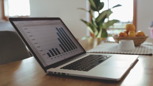 MS Bar graph on laptop