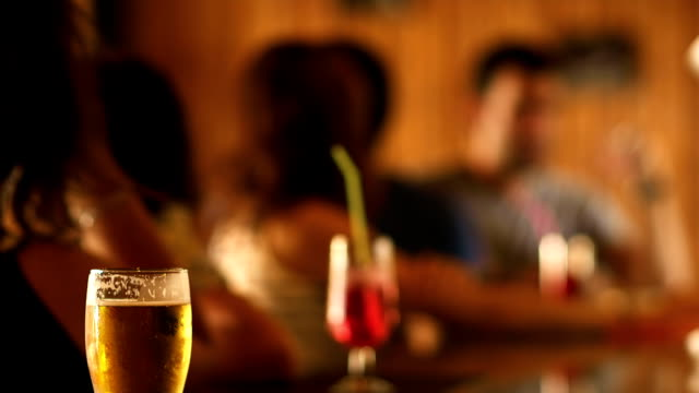 Bar shot, focus on beer mug video