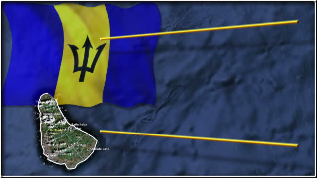 Barbados flag and map animation video