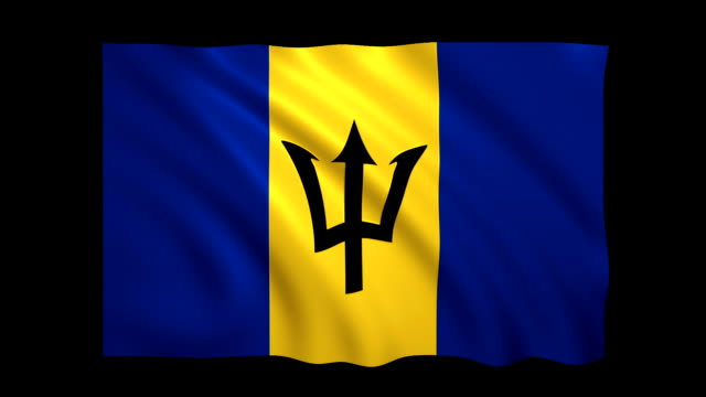 Barbados Flag Loopable alpha included - Stock video video