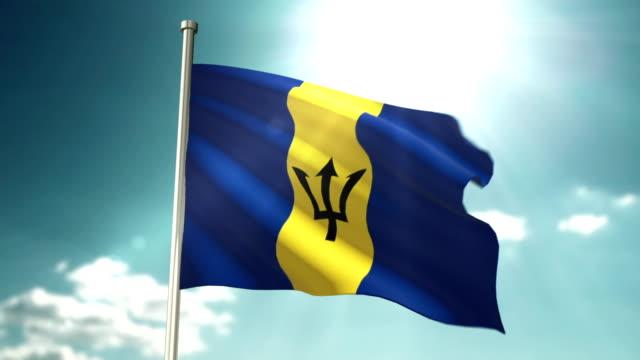 4K Barbados Flag video