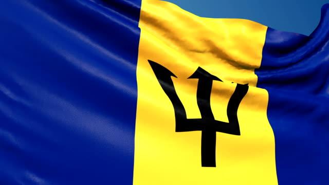 Barbados Flag Waving. 3d render seamless loop video