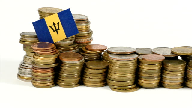Barbados flag with stack of money coins video