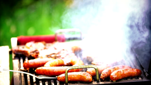 Barbecue meat sizzling. video