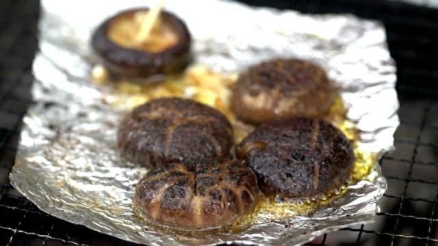 barbecue mushroom barbecue mushroom skewer stock videos & royalty-free footage