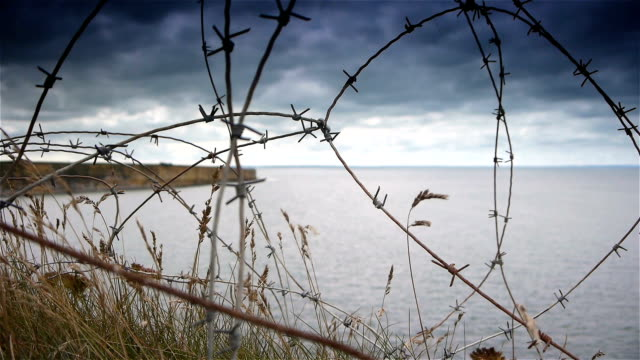 Barbed wire at Utah Beach. World War 2 D-day, Normandy France World War 2 Utah Beach D-Day, Normandy France. Barbed wire at the steep hills at the battlefield of the famous beach. normandy stock videos & royalty-free footage