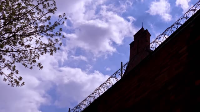 barbed wire fence  of the city prison