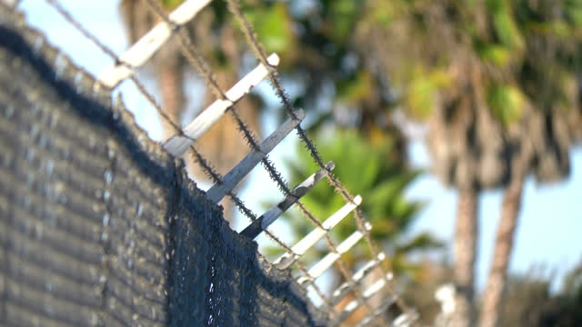 Barbed wire in 4k slow motion 60fps
