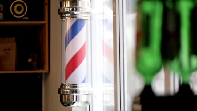 Barber Pole Spinning at a Barbershop. video