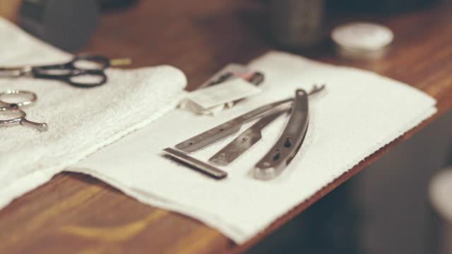 Barber shaving accessories. Barber shave razor. Barber tools video