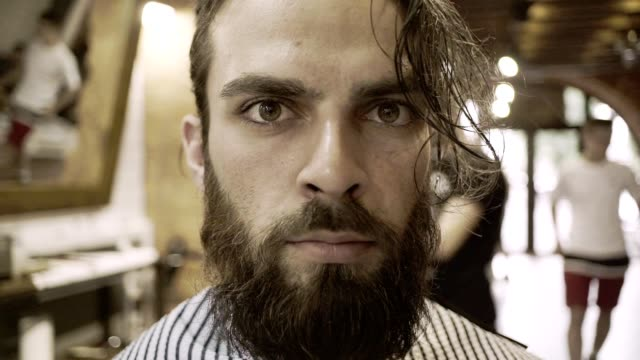 barber shop hipster. male face portrait. male beard face - ritratto 360 gradi video stock e b–roll