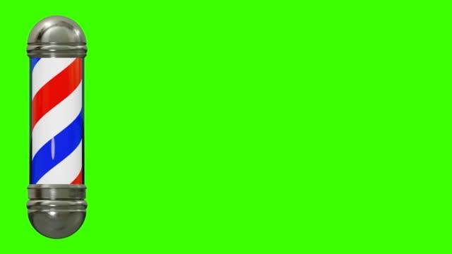 barber shop sign salon green screen chromakey 3d illustration - asta oggetto creato dall'uomo video stock e b–roll