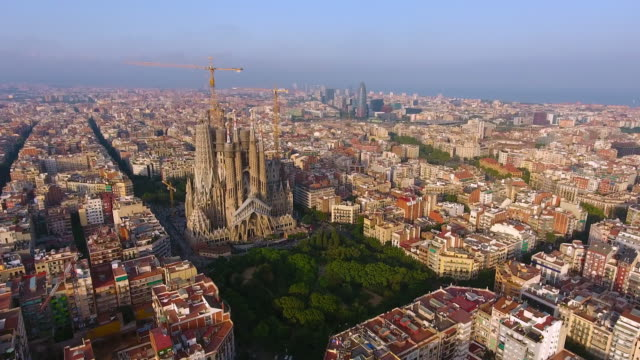 Barcelona aerial view by drone - video