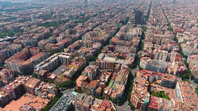 Barcelona aerial view by drone video