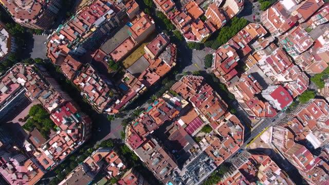 barcelona aerial view by drone - sezione superiore video stock e b–roll