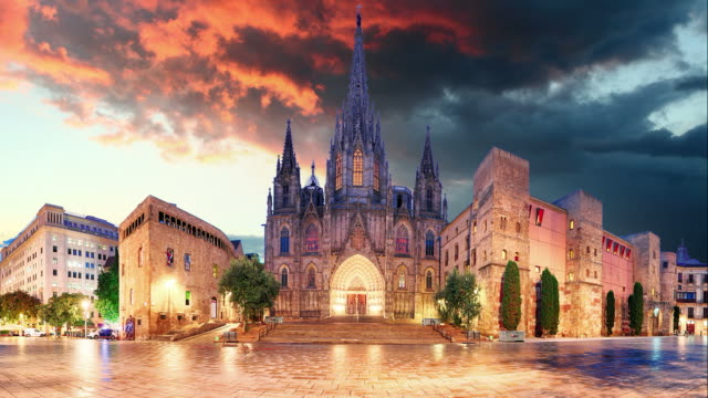 Barcelona - Cathedral, Barri Gothic Quarter, Time lapse video
