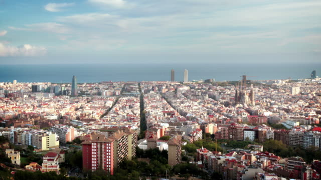 Paysage urbain de Barcelone, en Espagne - Vidéo