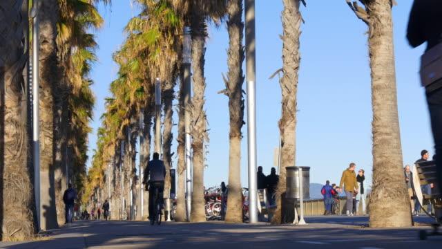 barcelona day light beach walking bay bicycle road 4k spain video