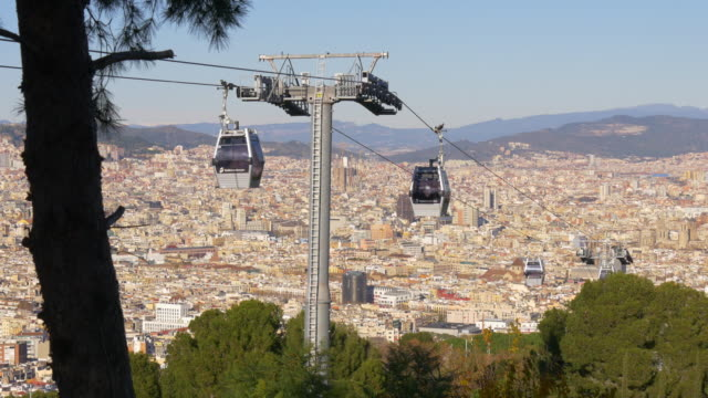 barcelona day light city panorama from montjuic park funicular 4k spain video