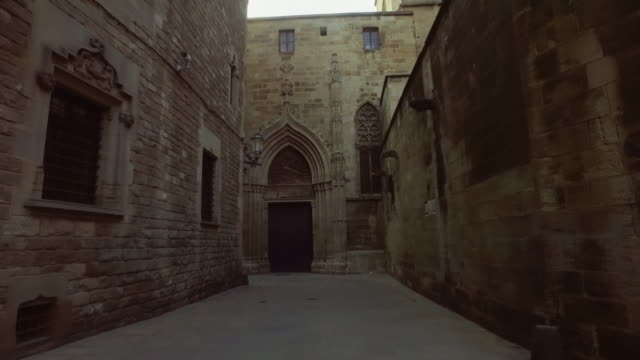 Barcelona: in gothic neighborhood Barrio gotico, Barcelona neo gothic architecture stock videos & royalty-free footage