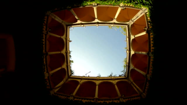 Barcelona looking up at sky from medieval interior courtyard Barcelona looking up at sky from medieval interior courtyard. us coin stock videos & royalty-free footage