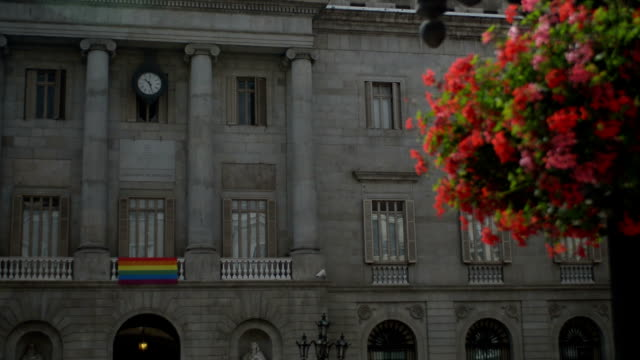 Barcelona mayor building with gay acceptance flag video