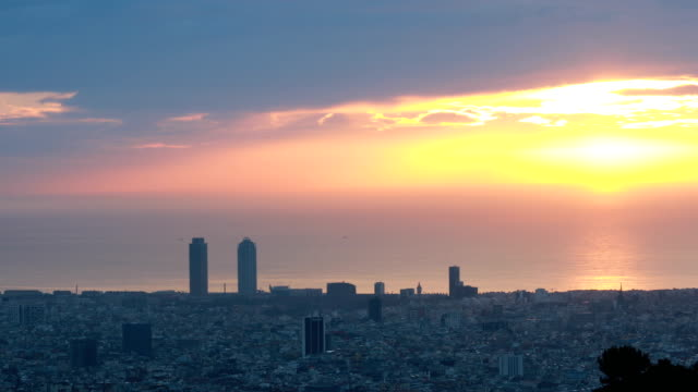 Barcelona morning with haze Barcelona morning in Febraury with heat haze and smog heat haze stock videos & royalty-free footage