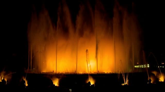 Barcelona night Plaza Espana Magic Fountain video