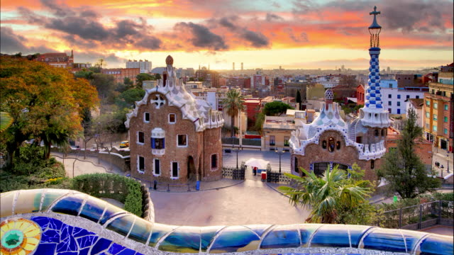 Barcelona, Park Guell, Spain - nobody, Time lapse video