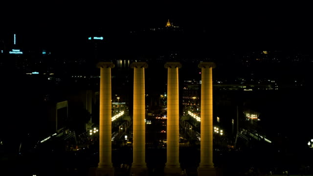 Barcelona Plaza Espana at night with the four columns video