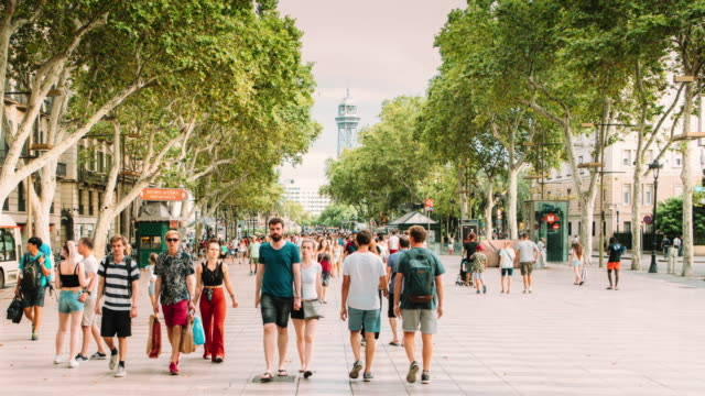 Barcelona Ramblas Hyper Lapse - Vidéo