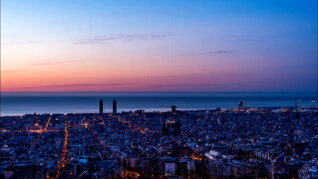 Barcelona Skyline Night to Day Time Lapse video
