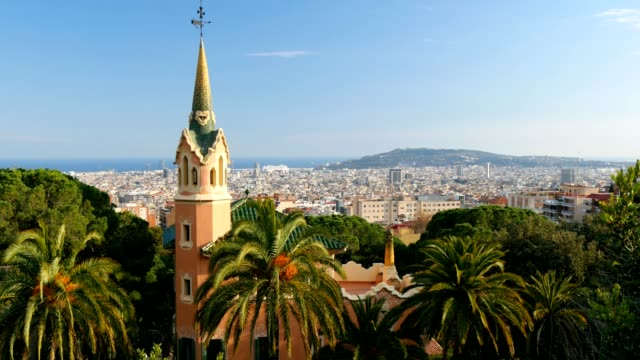 Barcelona skyline view from Guell park video