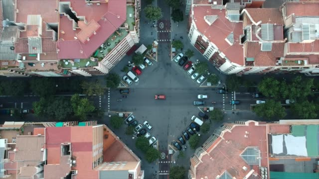 Barcelona, Spain; July 12 2018 Aerial view of traffic in a regular evening in the Eixample neighbourhood in Barcelona, Catalonia, Spain Barcelona, Spain; July 12 2018 Aerial view of traffic in a regular evening in the Eixample neighbourhood in Barcelona, Catalonia, Spain general view stock videos & royalty-free footage